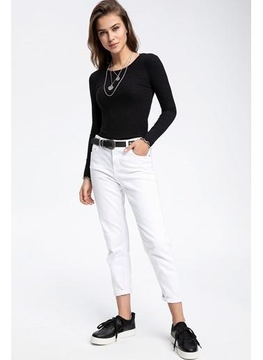 DeFacto Slim Fit Uzun Kollu Kısa T-shirt Siyah